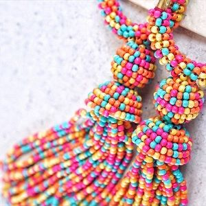 Jewelry - Colorful Tassel Hoop Earrings Rainbow Multicolor